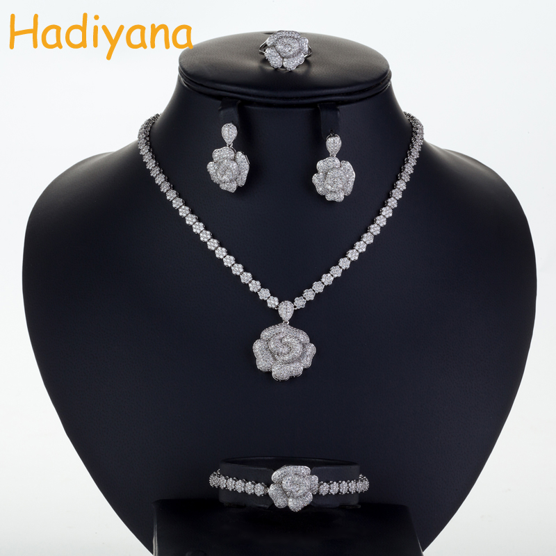Hadiyana Luxury Bridal Wedding Jewelry Sets New Sparkling Zircon Big Rose Flower Design 4pcs Jewelry Set Weddings Party CN164 цены онлайн