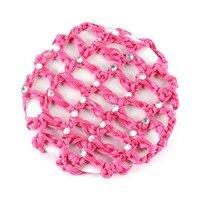 10pcs Lot Plain Colour Rhinestone Crochet Hair Snood Bun Cover Hairnet Ballet Dance Mesh Bun Cover