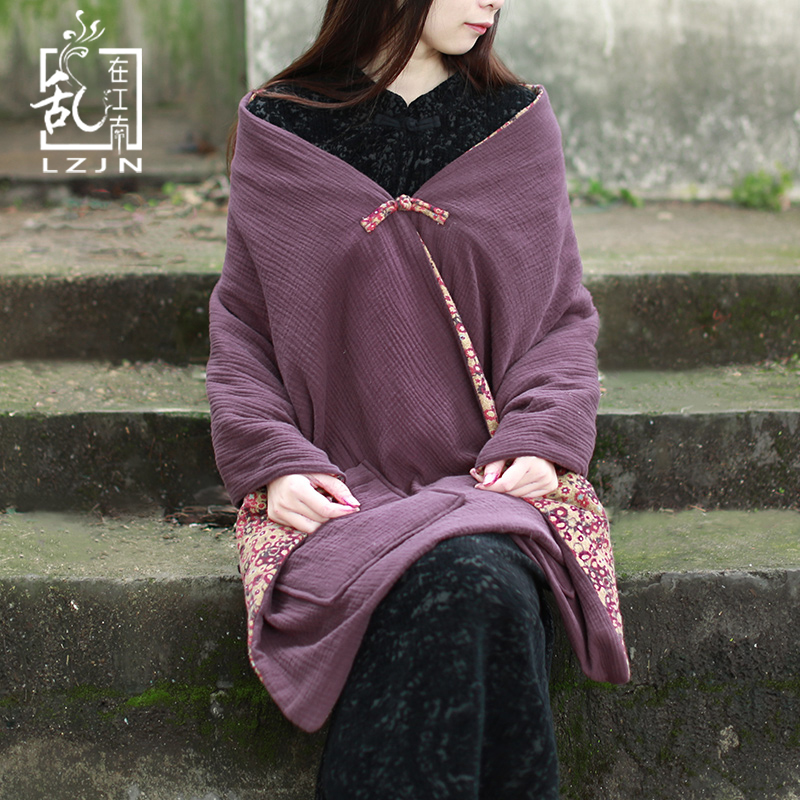 LZJN Winter Cape Scarf For Women Pashmina Spring Coat Single Button Autumn Shawls Reversible Quilted Scarves Warm Tippet Pockets