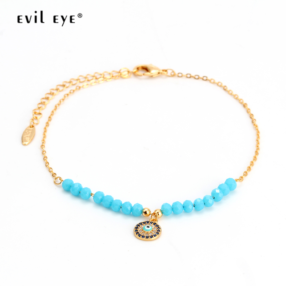 EVIL EYE Anklet Gold Color Ankle Chain Blue Beads Turkish Eye Charm Anklet Bracelet Feet Leg Fashion Jewelry for Women EY6316