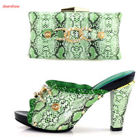 doershow Green Italian Shoes with Matching Bags Nigerian Shoes and Matching Bags Set Decorated with Rhinestone Party Shoe BB 21