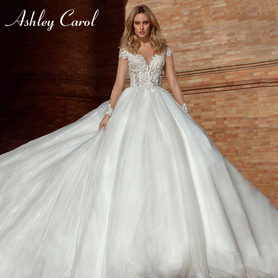 Ashley Carol Sexy Sweetheart Illusion Long Sleeve Backless Wedding Dress 2019 Beaded Luxury Chapel Train Princess Wedding Gowns