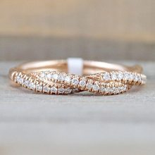 Pattern Twisted Rope Hemp Flowers Ring Plating Rose Gold Silver Micro Cubic Zirconia Tail Ring Fashion Women's Jewelry(China)