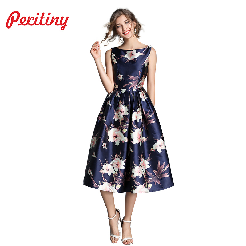 Peritiny Elegant Vestido Autumn Summer Dress Floral Print Off the Shoulder Sleeveless Casual Ball Gown Vintage Dresses Womens