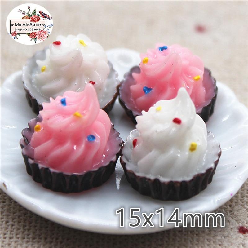 pink Ice cream cup 10PCS 15x14mm Resin Flatback Cabochon Miniature Food Art Supply Decoration Charm Craft