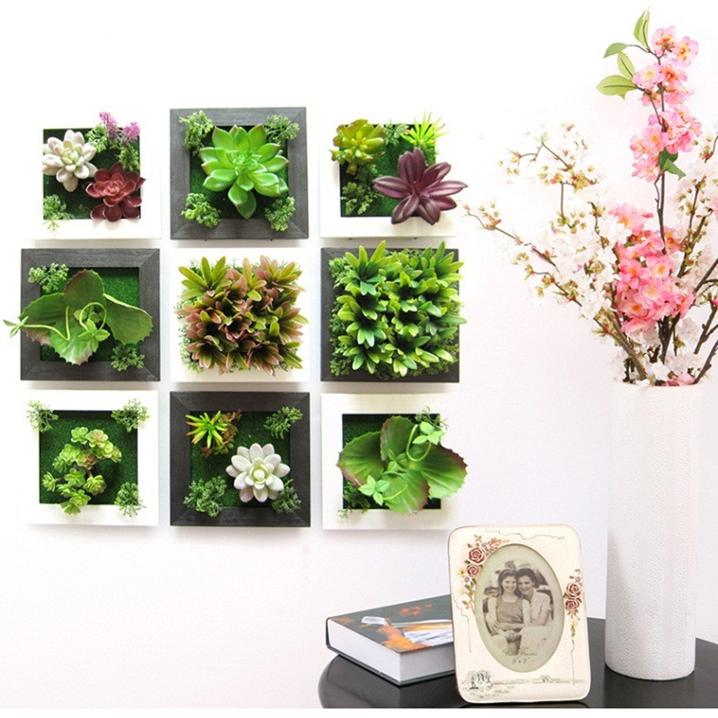 3D Plant Wall Sticker Home Decor Wall Artificial Flowers Frame Fake Plant  Wall Art Mural Living