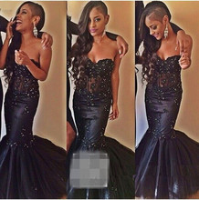 Black Real Model Women Beads 2015 Mermaid Prom Dress Lace Evening Gown Vestidos de Festa E5965