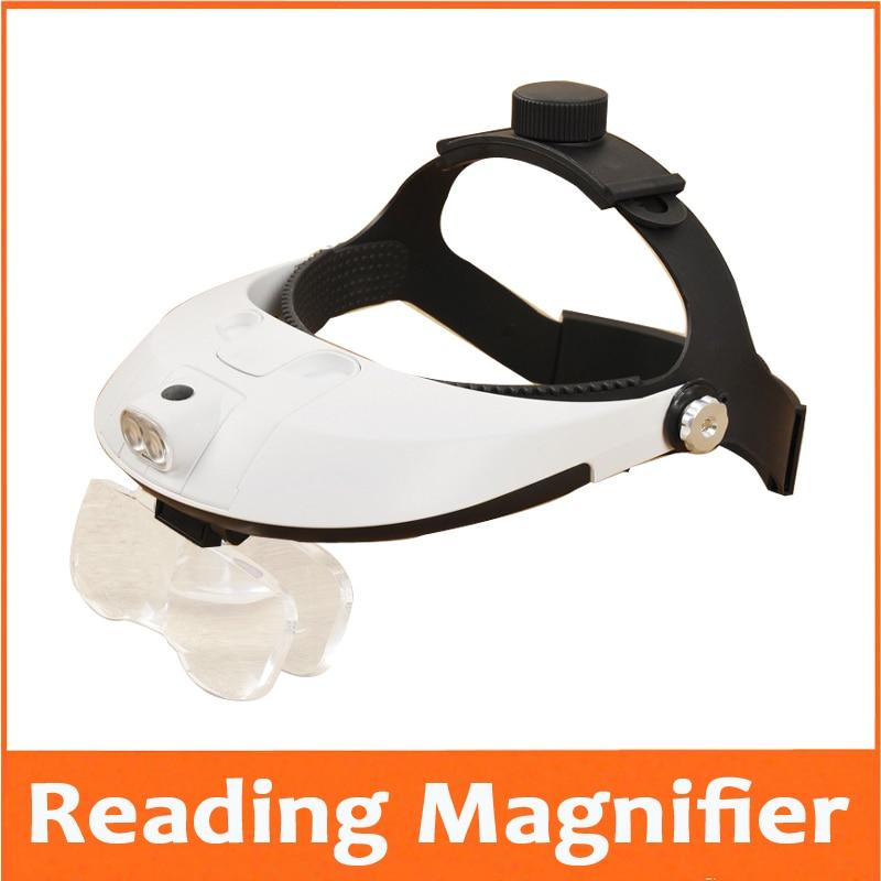 1.0X,1.5X,2.0X,2.5X,3.5X LED Illumination Headband Magnifying Glass Helmet Magnifier Repairing Head Visor Dental Surgical Loupe 3led magnifier for dental surgical and watch repairing and reading magnifier with lighted adjustable helmet head mounted magnify