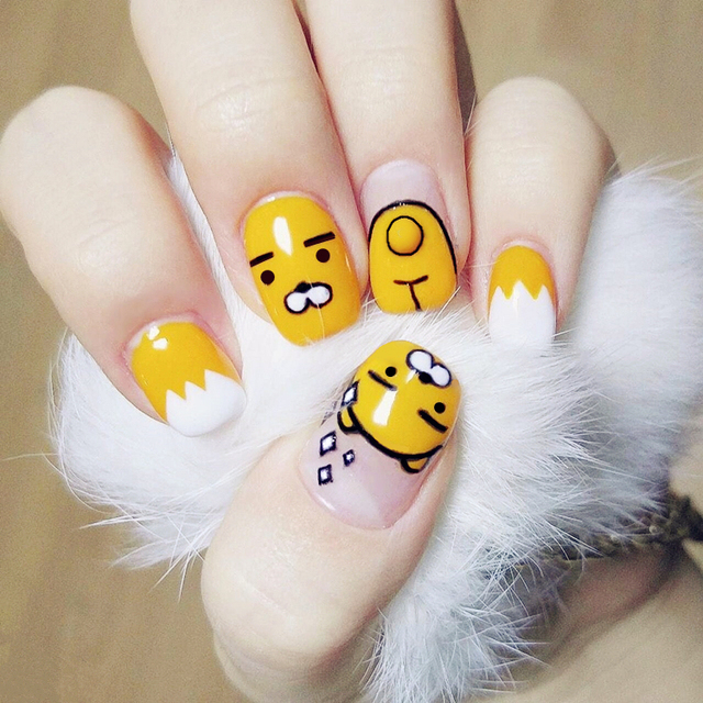 Korean kakao cartoon pattern fake nails Japanese cute pure color ...