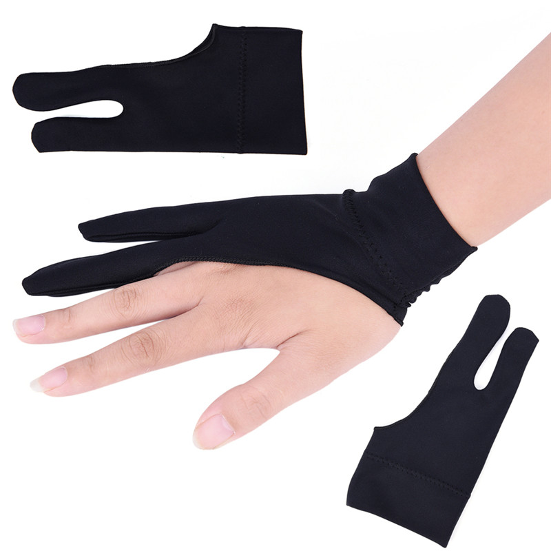 Black Drawing Glove For Artist Any Graphics Drawing Tablet 2 Finger Anti-fouling Both For Right And Left Hand