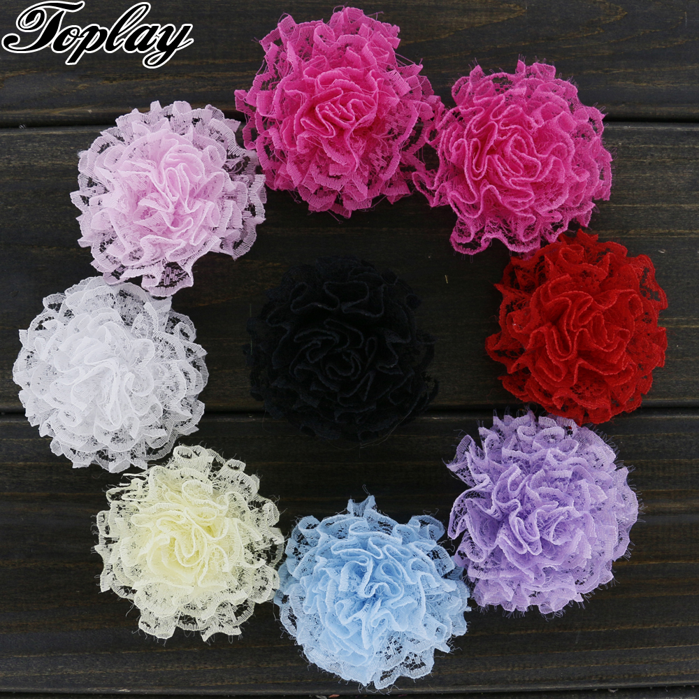 Toplay 40pcs/lot 2 Girls Lace Flower Multilayers Rose Flowers Boutique Artificial Flower Girls Hair Accessory