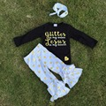 fall/winter clothes girls black glitter jesus sets gold polka dot ruffle pant set pant sets boutique outfits with headband