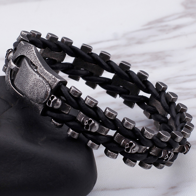 STAINLESS STEEL LEATHER CHAIN SKULL BRACELET