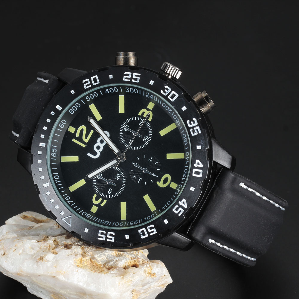 Top Brand Loop Logo Men Sport Military Watch Silicone Strap Chronograph Quartz Watch Movement Luminous Mens Best Gift Wristwatch goblin shark sport watch 3d logo dual movement waterproof full black analog silicone strap fashion men casual wristwatch sh165