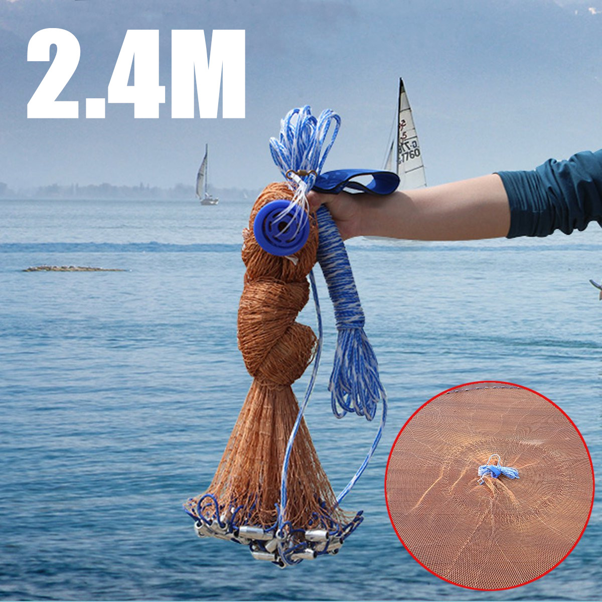 2.4M Cast Net Saltwater Bait Casting Net Catch Fishing Net American Small Mesh Trap Cast Network Fly Hunting Hand Throw Nets