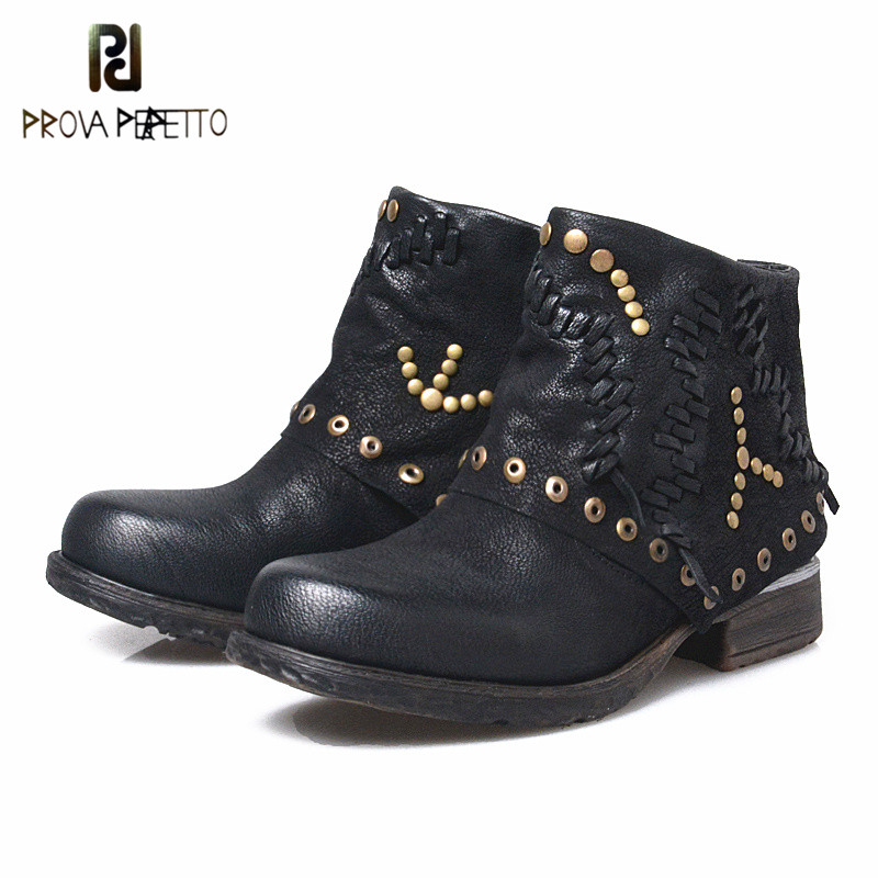 Prova Perfetto New Design Genuine Leather Patchwork Appliques Rivets Woman Ankle Boots Round Toe Slip On Low Heel Short BootsProva Perfetto New Design Genuine Leather Patchwork Appliques Rivets Woman Ankle Boots Round Toe Slip On Low Heel Short Boots