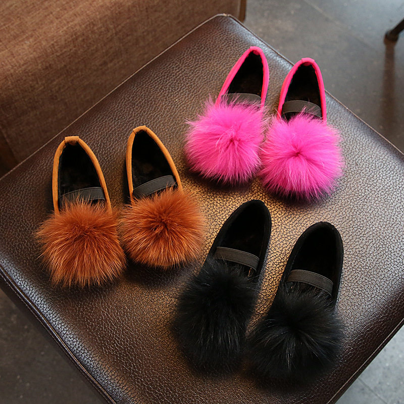Children Solid Fox Fur Slip-On Casual Shoes Breathable Anti-Slippery Cotton Slippers Shoes Comfortable For Girls Loafers 206