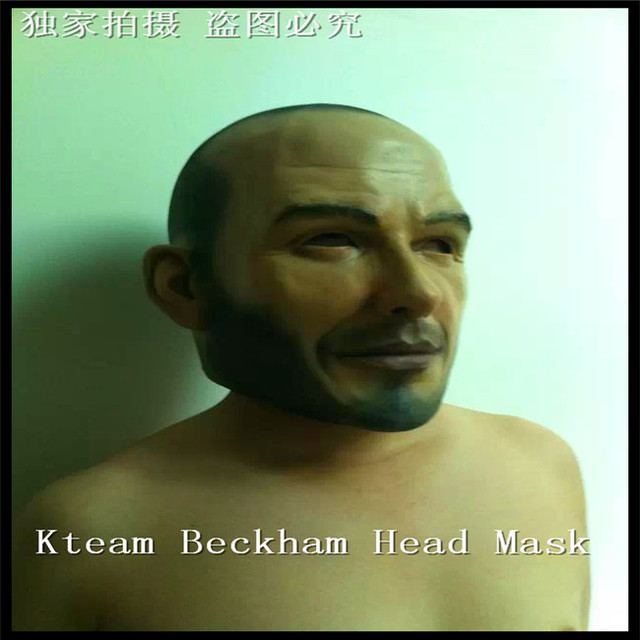Free shipping Halloween Party Cosplay Famous Man David Beckham Face Mask Latex Party Real Human Face Mask realistic mask Toys