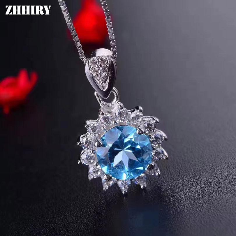 Genuine Natural Blue Topaz Gemstone 925 Sterling Silver CZ Necklace Pendant NEW