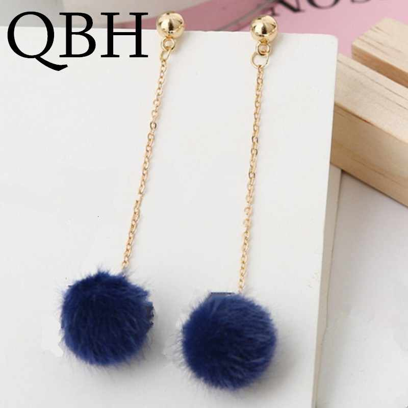 EK532 New Fashion Soft Fur Ball PomPom Earrings For Women Pink/White/Black Statement Long Tassel Gold Plush Hair Drop Brincos