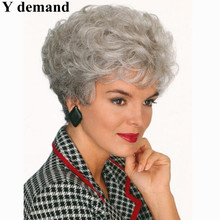 Old Women Elderly Ladies discount wigs Heat Resistant synthetic short curly gray Wig fashion grey hairstyles hair wigs