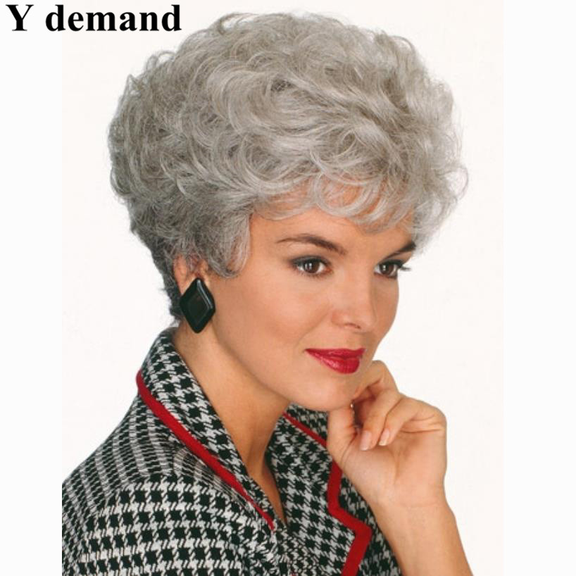 Old Lady Hairstyles short hair mature women Old Women Elderly Ladies Discount Wigs Heat Resistant Synthetic Short Curly Gray Wig Fashion Grey Hairstyles