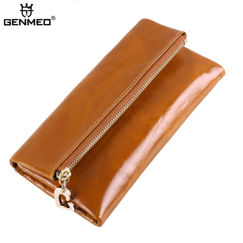 MAIFEINI New Genuine Leather Long Wallets Women Real Leather Card Holder Coin Purse Sexy Ladies 3folds Leather Clutch Bag