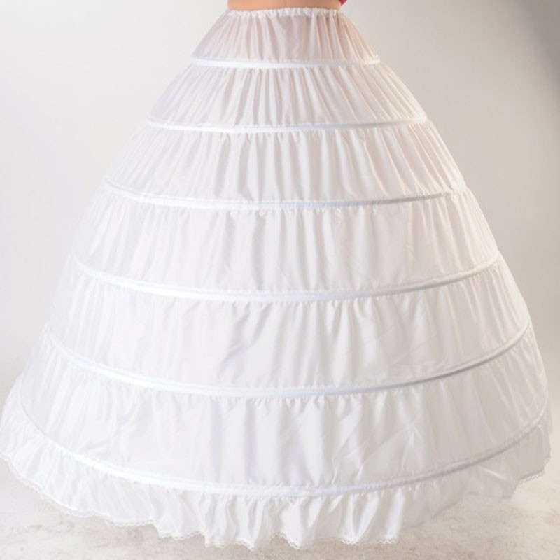 Image 2 - White 6 Hoops Petticoats for Wedding Dress Crinoline Underskirt Cheap Price Wedding Accessories For Brial Ball Gown6 hoop petticoatpetticoats for weddinghoop petticoat -