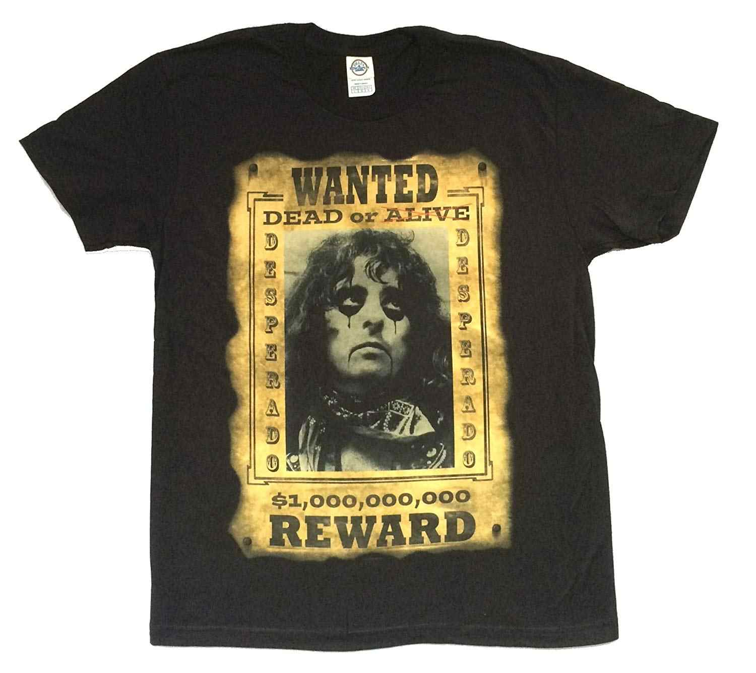 Alice Cooper Reward Wanted Dead Or Alive Poster Image Black T ShirtRound Neck T-Shirts