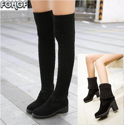 Knitted Women High Knee Boots Thigh high Boots over the knee boots Elastic Slim Autumn Winter Warm Woman Shoes botas feminina knitted women high knee boots thigh high boots over the knee boots elastic slim autumn winter warm woman shoes botas feminina
