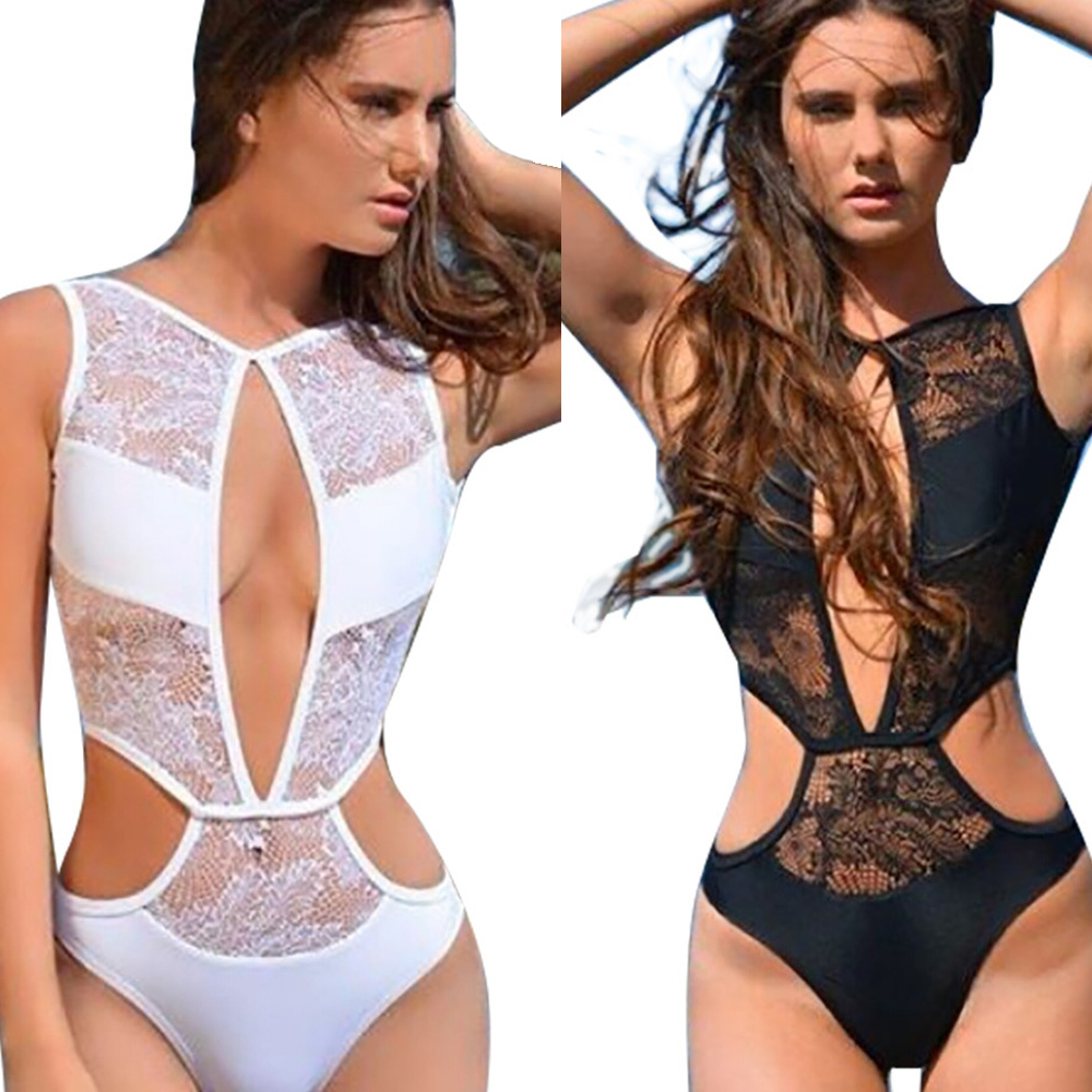 2016 New Sexy Womens Lace Mesh Sheer One Piece Bikini Cut Out Swimsuit Hollow-Out Monokini Bathing Suits Backless Swimwear S-XL alex evenings new purple plum sheer floral lace womens size 6 shrug jacket $90