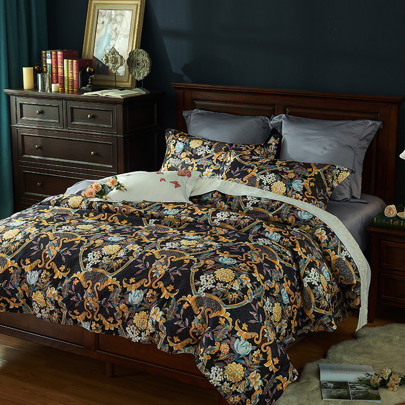 luxury 1000TC Egyptian 100% cotton Bedding Sets Queen King Size Duvet Cover Sets Bed Sheets 4pcs flowers comforter/quilt coverluxury 1000TC Egyptian 100% cotton Bedding Sets Queen King Size Duvet Cover Sets Bed Sheets 4pcs flowers comforter/quilt cover