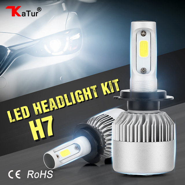 Katur 2pcsset h7 led bulbs headlight conversion kit fog lights for katur 2pcsset h7 led bulbs headlight conversion kit fog lights for cars 6500k white aloadofball Images