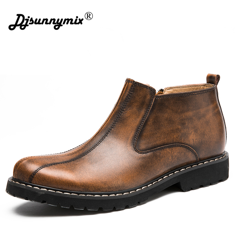 DJSUNNYMIX 2018 Autumn Winter men Ankle Chelsea Boots Men Shoes Male Business Casual Genuine Leather zip Non-slip Boot  man