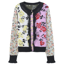Promoción de Flowered Cardigan Sweater Compra Flowered
