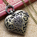 Bronze Hollow Quartz Heart-shaped Pocket Watch Necklace Pendant Chain Womens Gift For Valentine's Day