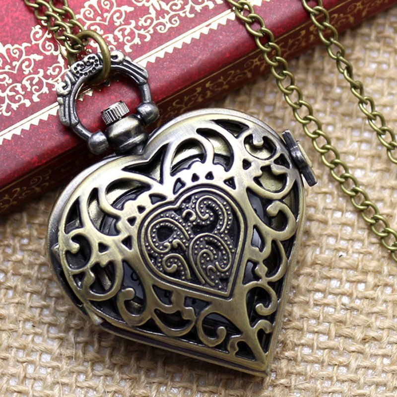 Bronze Hollow Quartz Heart-shaped Pocket Watch Necklace Pendant Chain Womens Watches LOVE  Gift For Valentine's Day For Women