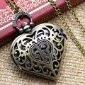Hueco de bronce Reloj de Bolsillo de Cuarzo en forma de Corazón Colgante de Collar de Cadena Mujeres Regalo Para El Día de San Valentín