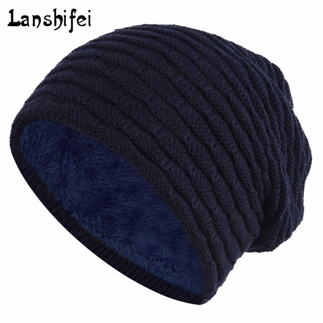 Hot Sale Men Knitting Hat Solid Winter Snow Hat For Man Skullies Beanies  Warm Man Beanie eca5f712a
