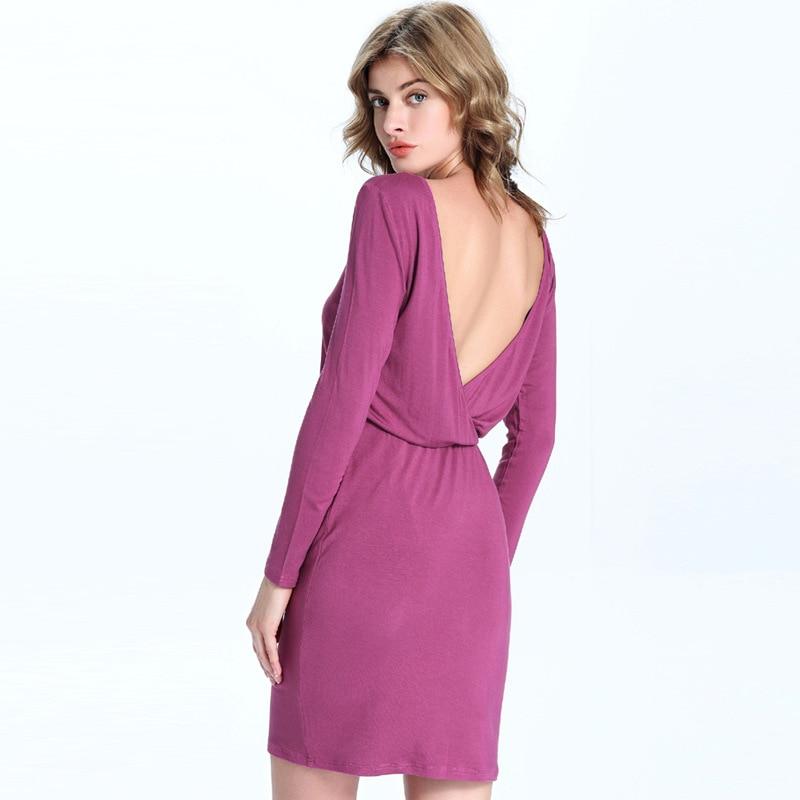 186217 # Hot Euramerica Autumn Dress New Japanese Cotton Elastic Waist Knitted Bottoming Backless Mujer Vestidos Fashion