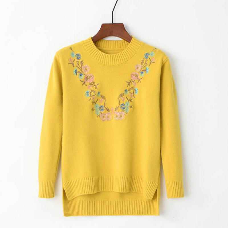 18 Pull Femme Women Floral Embroidery Sweater O-neck Long Sleeves Knit Jumper Jerseys 9 Colors Soft Pullover 6