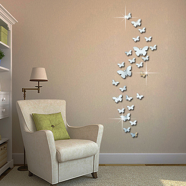 Superb 12pcs 3D Mirror Butterfly Wall Stickers Decal Wall Art Removable Homer Room  Party Wedding Silver DIY
