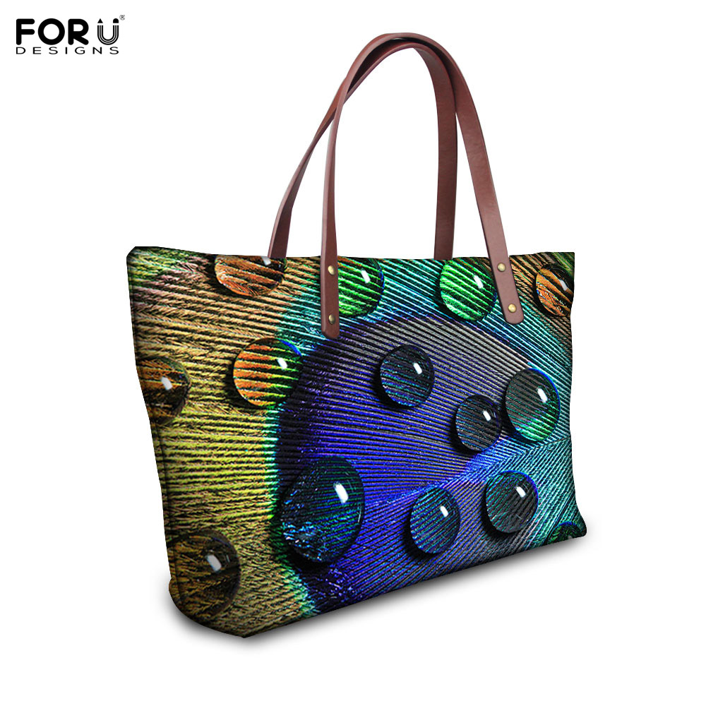Fashion Women Handbags Animal Peacock Printing Shoulder Bag Vintage Shopping Bag Large Capacity Ladies Handbags Bolsa Feminina forudesigns casual women handbags peacock feather printed shopping bag large capacity ladies handbags vintage bolsa feminina