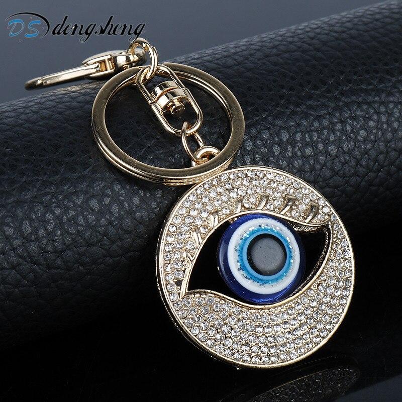 Dongsheng Fashion Crystal Evil Eye Key Ring Unisex Car Keychain Women Charms HandBag Pendant Key Chains For Women Men Jewelry-50