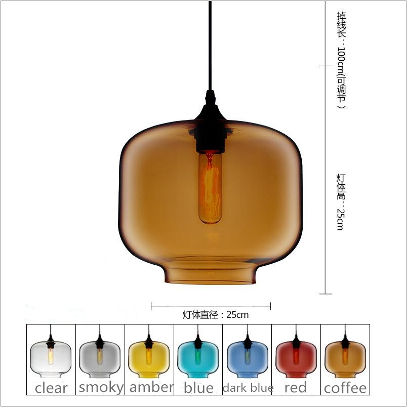 D25cm H25cm Glass LED Pendant lights Lamp lighting kitchen dining room cafe shop glass nordic suspension Edison hanging light factory cheap amber smoky gray red coffee blue glass pendant lamp pendant light edison bulb bedroom dining room cafe kitchen bar