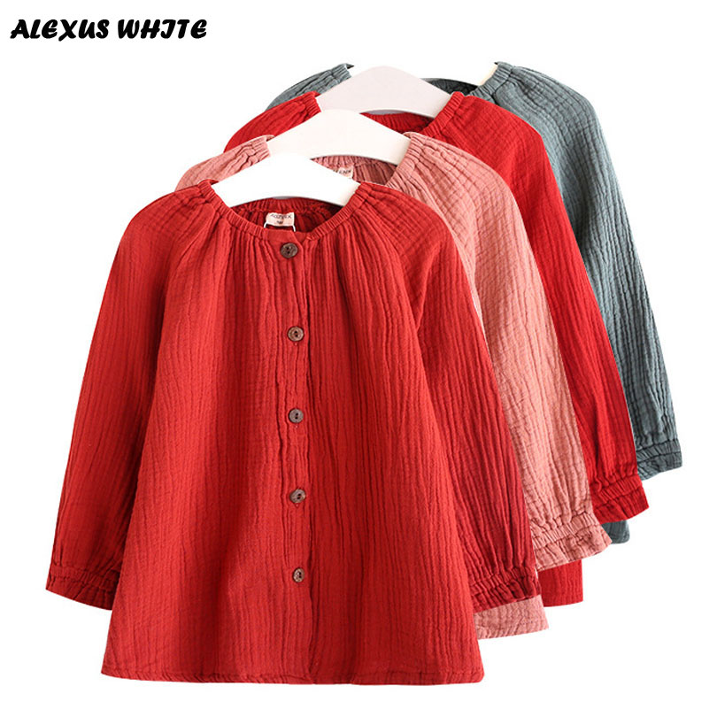 2018 Spring Autumn Clothing Children Linen Girls Shirt Kids Long Sleeve Shirts Tops Tee Ruffled Comfortable button Blouse 3-7Y button up frilled puff sleeve blouse
