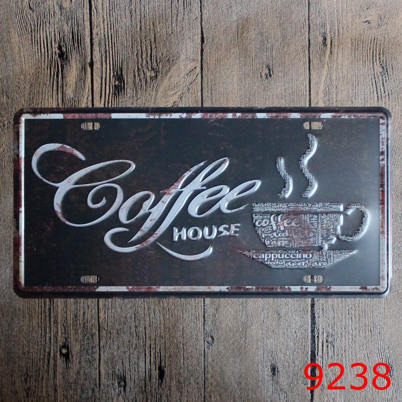 LOSICOE Vintage license plate coffee Metal signs home decor Office Restaurant Bar Metal Painting art 15x30 CM
