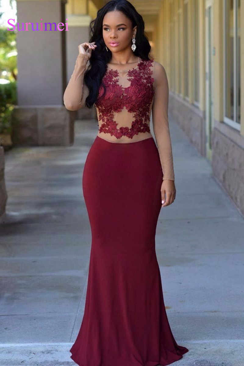 e75c147bce ... Feedback Questions about New Sexy Elegant Mermaid Long Sleeves Maroon Prom  Dresses 2018 Sheer Illusion Bodice Lace Appliques Sexy Formal Evening Gowns  ...