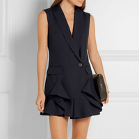 עסקי אופנה בגדי עבודת אפוד Slim V-צוואר פורמליות משרד נשים קריירה גבירותיי חולצות וסטים חזייה כהה שחור