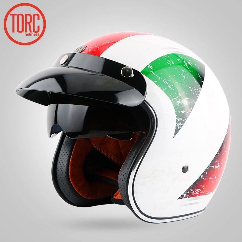 Casque Vintage TORC T57 moto rcycle 3/4 casque visage ouvert Cool crâne moto casco moto cicleta Capacete avec visière intérieure - 3